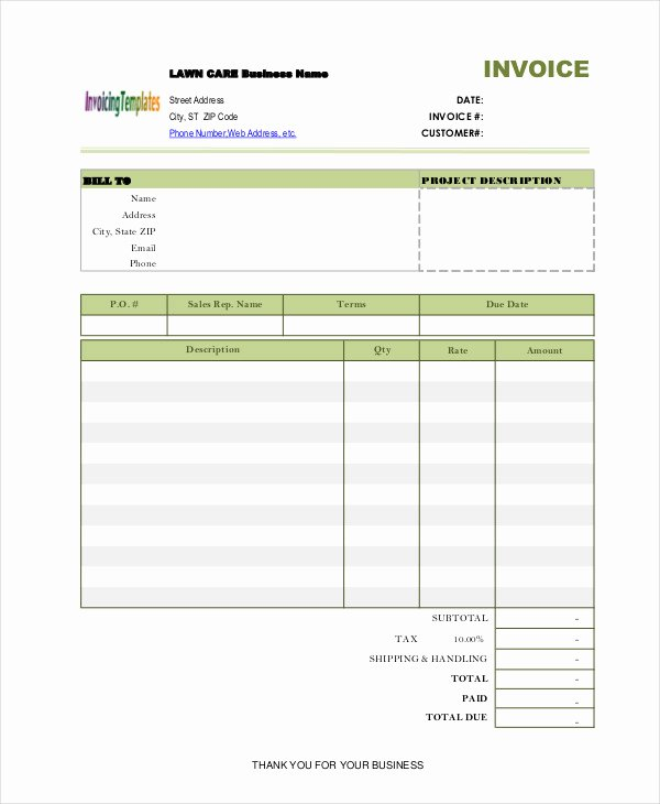 Lawn Care Invoice Template Pdf Beautiful Lawn Care Invoice Template 6 Free Word Pdf format