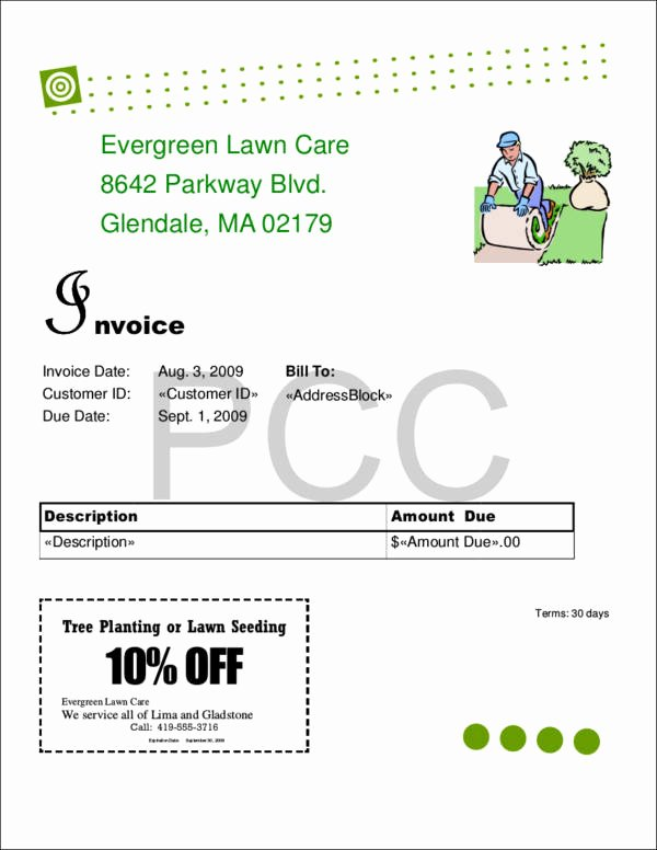 Lawn Care Invoice Template Pdf Elegant 9 Lawn Care Invoice Samples & Templates – Pdf Excel