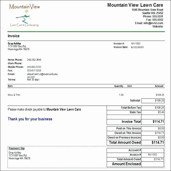 Lawn Care Proposal Template Beautiful Latest Snow Removal Invoice Template Billing format Maker