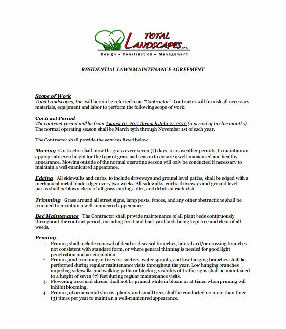 Lawn Care Proposal Template Best Of 9 Lawn Service Contract Templates Pdf Doc