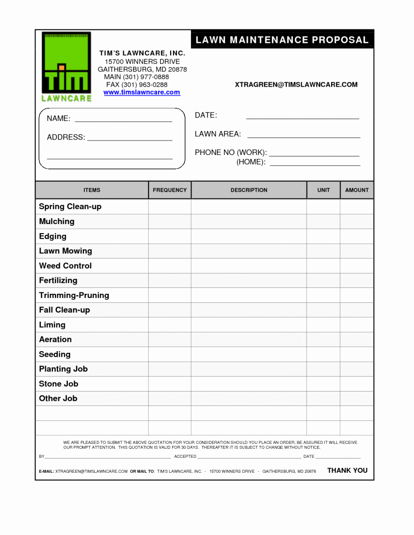 Lawn Care Proposal Template Inspirational Construction Proposal form 10 Best Bid Free