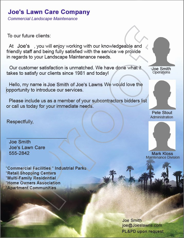 Lawn Care Proposal Template Lovely Home Owner's association Lawn Care Bid Proposal Example