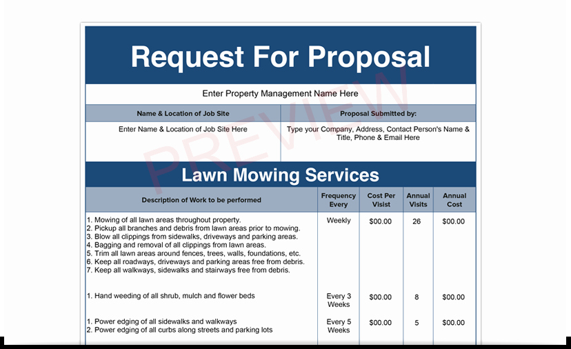 Lawn Care Proposal Template Luxury Examples Bid Sheet for Mercial Cleaning