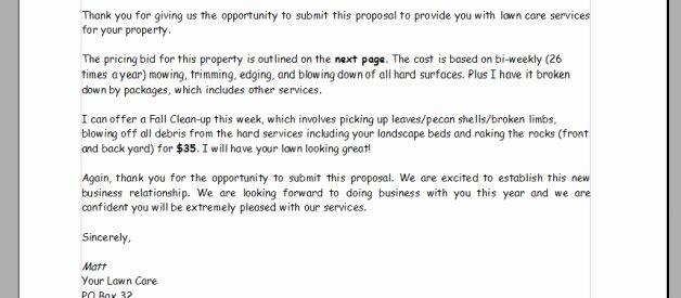 Lawn Care Proposal Template Luxury Lawn Care Bid Proposal Template
