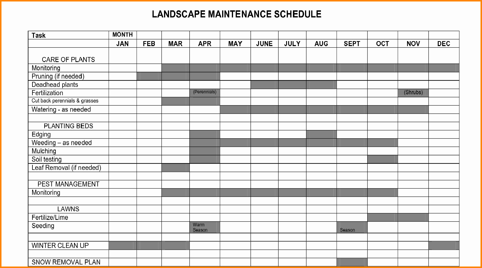 Lawn Maintenance Schedule Template Beautiful Maintenance Schedule Gallery