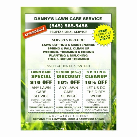 Lawn Mowing Flyer Template Awesome Lawn Care 8 5 X 11 Coupon Promotion Business Flyer