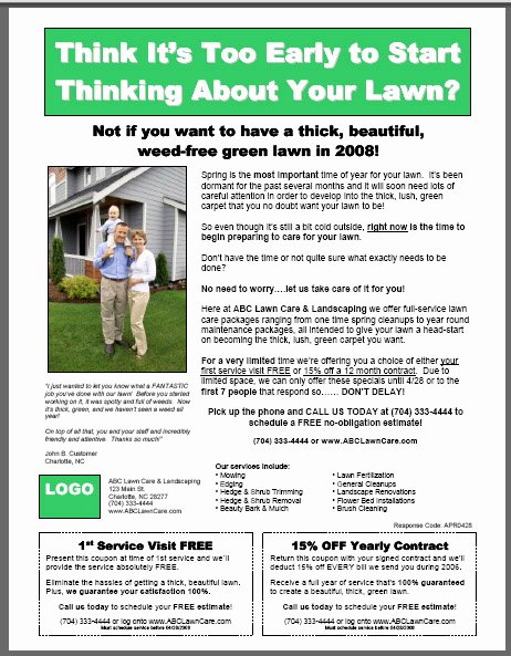 Lawn Mowing Flyer Template Beautiful Lawn Care Flyer Template On Behance