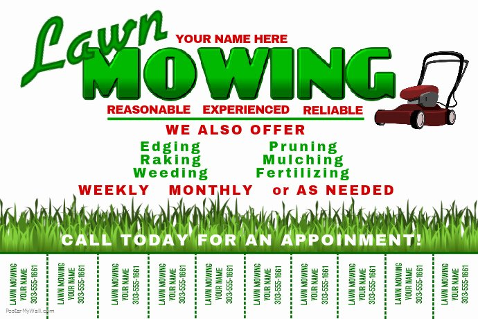 Lawn Mowing Flyer Template Unique Lawn Mowing Template