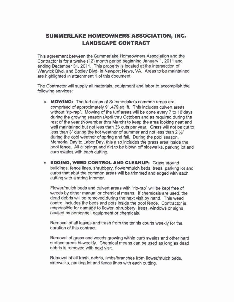 Lawn Service Contract Template Awesome 6 Landscaping Services Contract Templates Pdf