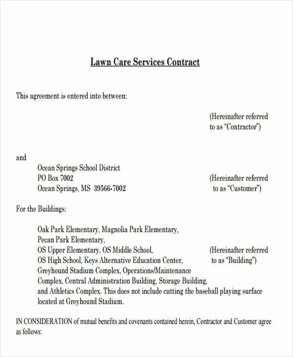 Lawn Service Contract Template Awesome 9 Service Contract Templates Free Sample Example