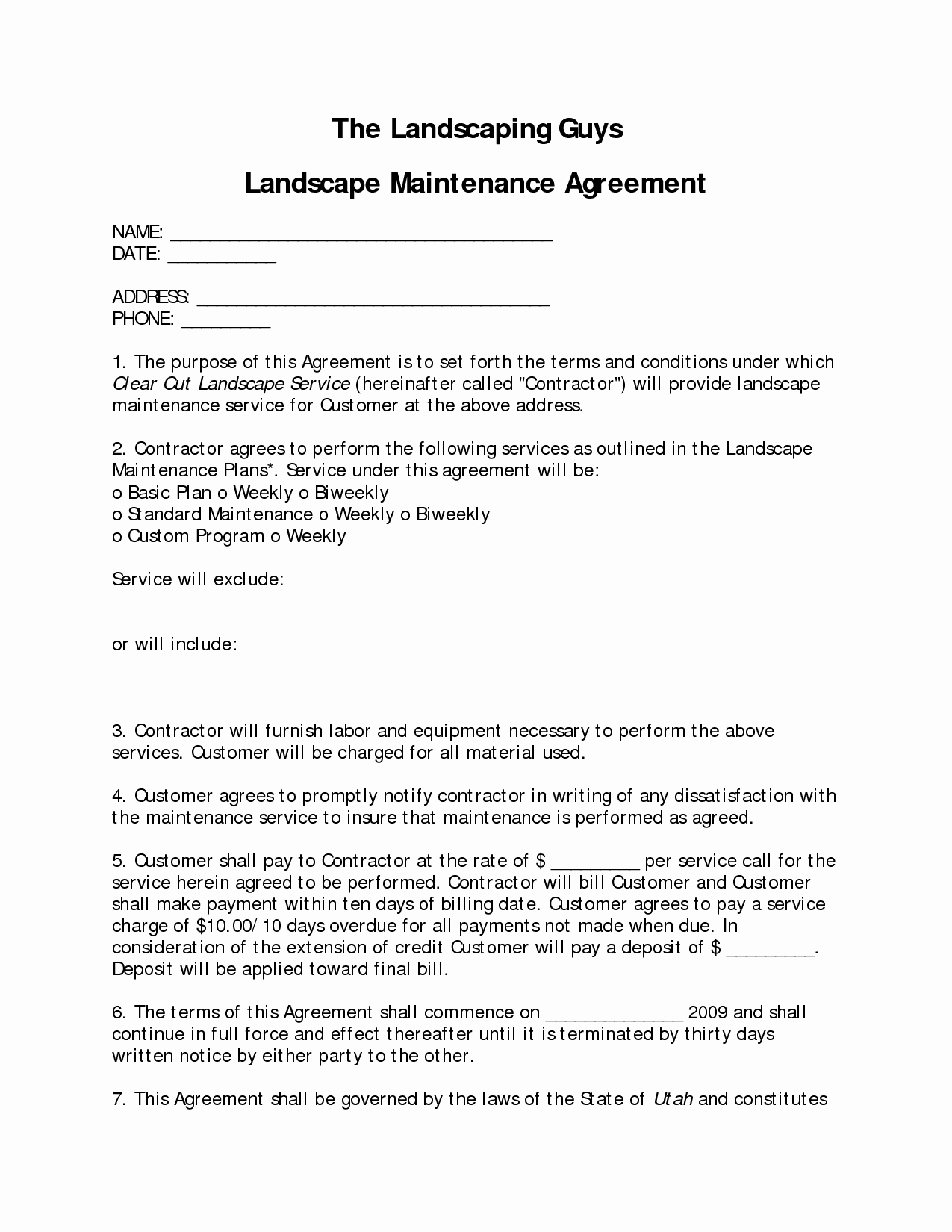 Lawn Service Contract Template Beautiful Landscaping Contract Sample