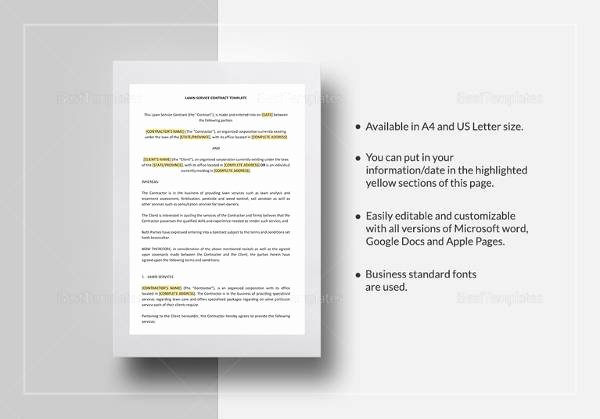 Lawn Service Contract Template Best Of 16 Amazing Simple Contract Templates to Download
