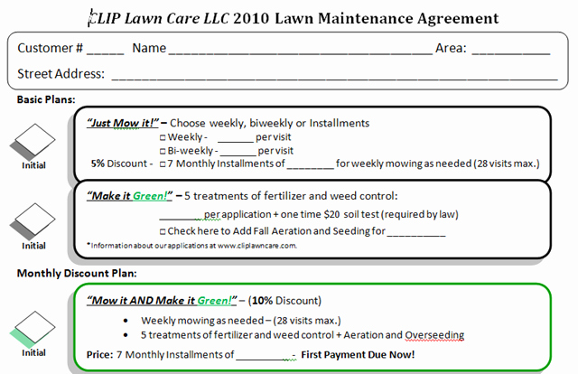 Lawn Service Contract Template Best Of Lawn Care Bid Templates