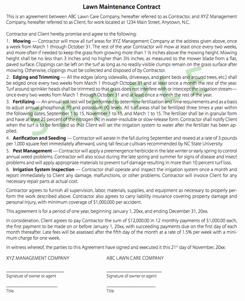 Lawn Service Contract Template Best Of Tips On Writing Turf Contracts and Landscape