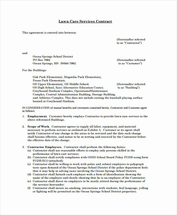Lawn Service Contract Template Elegant 42 Sample Contract Templates