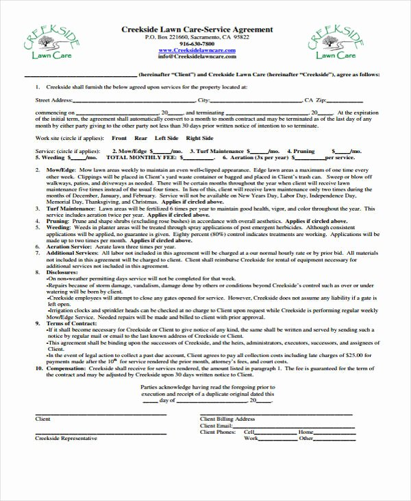 Lawn Service Contract Template Fresh 10 Lawn Service Contract Templates Free Sample Example