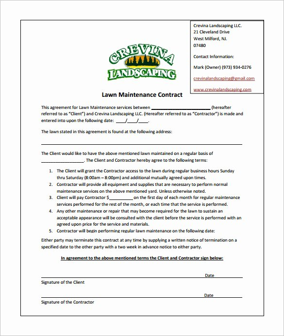 Lawn Service Contract Template Fresh 9 Lawn Service Contract Templates – Free Word Pdf