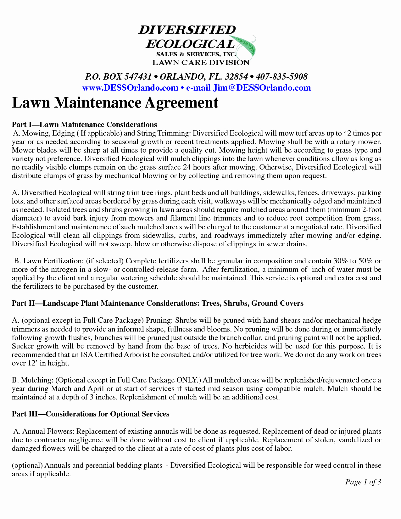 Lawn Service Contract Template Fresh Lawn Maintenance Contract Agreement Free Printable Documents