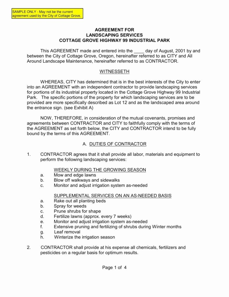 Lawn Service Contract Template Lovely 6 Landscaping Services Contract Templates Pdf