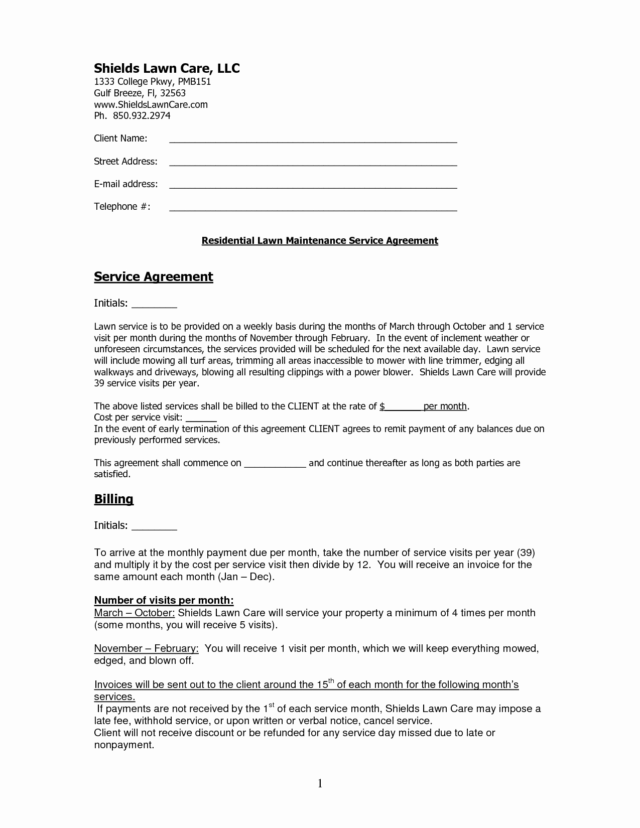 Lawn Service Contract Template New Contract Lawn Care Contract Template