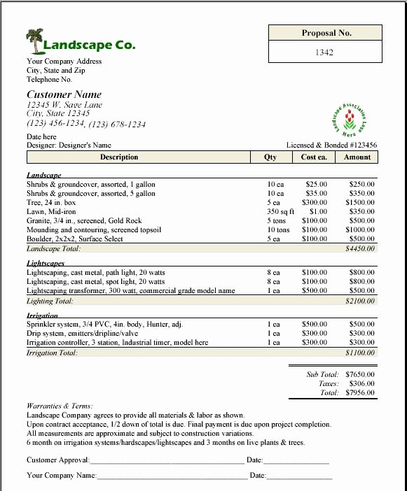 Lawn Service Contract Template New Printable Sample Lawn Service Contract form