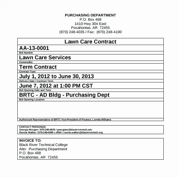 Lawn Service Contract Template New Residential Snow Removal Contract Template Free Plowing