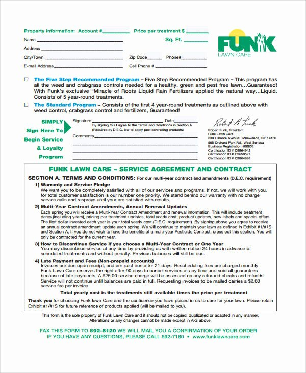 Lawn Service Contract Template Unique 10 Lawn Service Contract Templates Free Sample Example