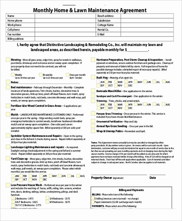 Lawn Service Contract Template Unique Maintenance Agreement Templates 9 Free Word Pdf format