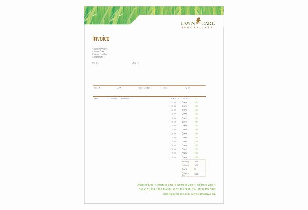 Lawn Service Invoice Template Beautiful Lawn Care Invoice Template