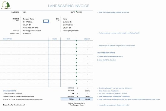 Lawn Service Invoice Template Excel Beautiful Landscaping Invoice Template Free