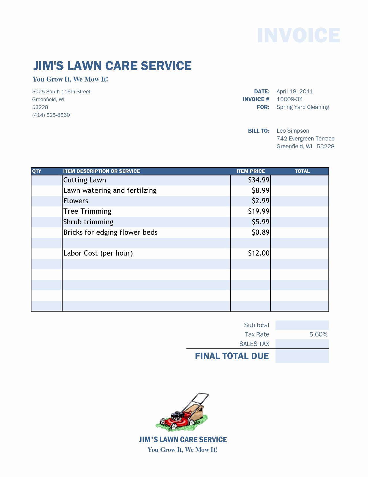 Lawn Service Invoice Template Excel Beautiful Lawn Care Invoice Template