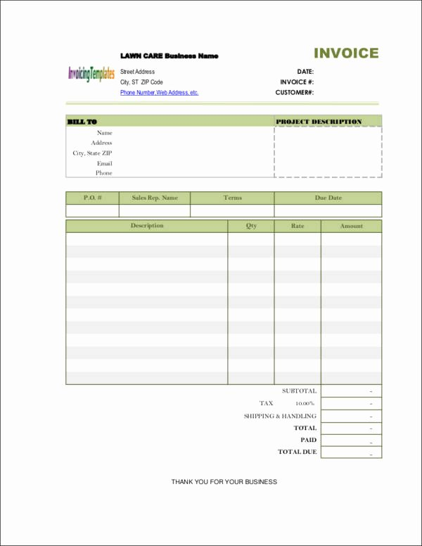 Lawn Service Invoice Template Excel Best Of 9 Lawn Care Invoice Samples & Templates – Pdf Excel