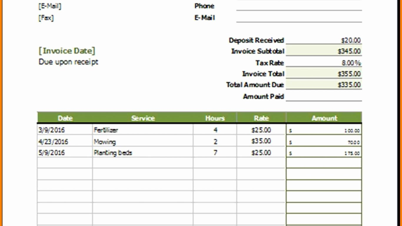 Lawn Service Invoice Template Excel Elegant Fascinating Lawn Service Invoice Template Yeni Mescale Co