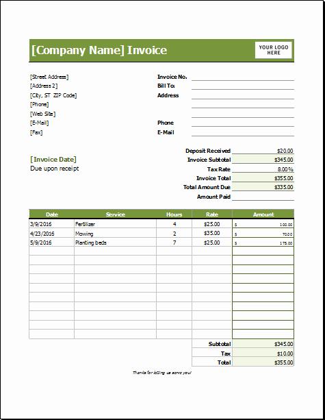 Lawn Service Invoice Template Excel Elegant Lawn Care Invoice Template for Excel