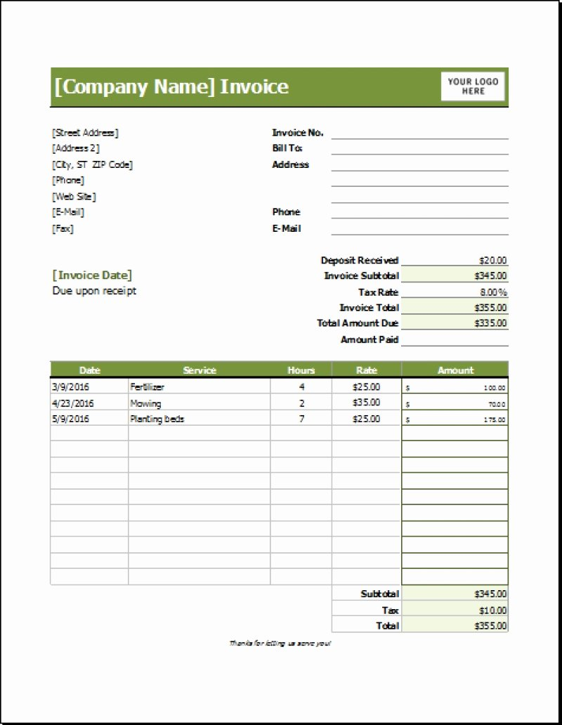 Lawn Service Invoice Template Excel Fresh Lawn Care Invoice Template Expense Spreadshee Lawn Care