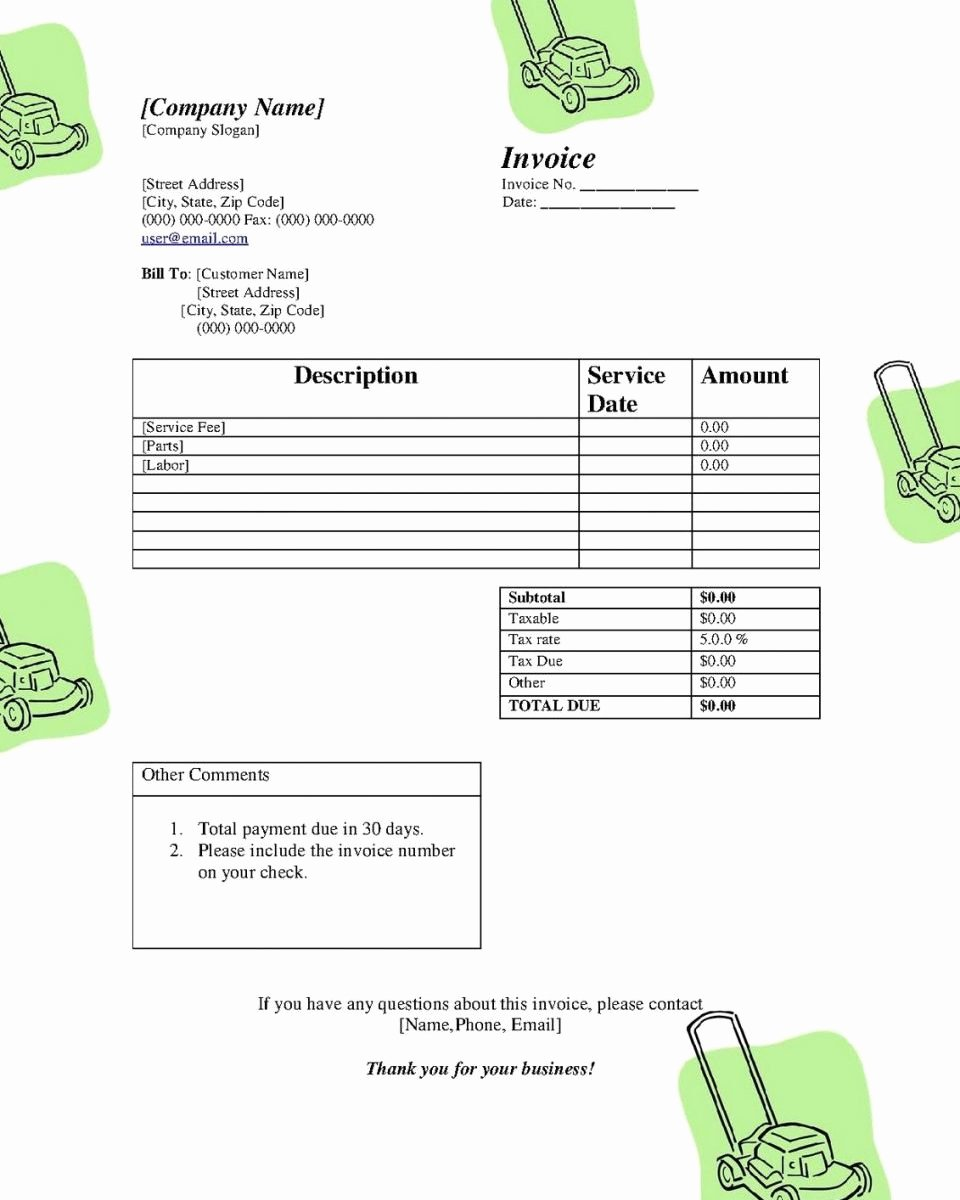 Lawn Service Invoice Template Excel Luxury Lawn Care Service Invoice Template Papillon northwan