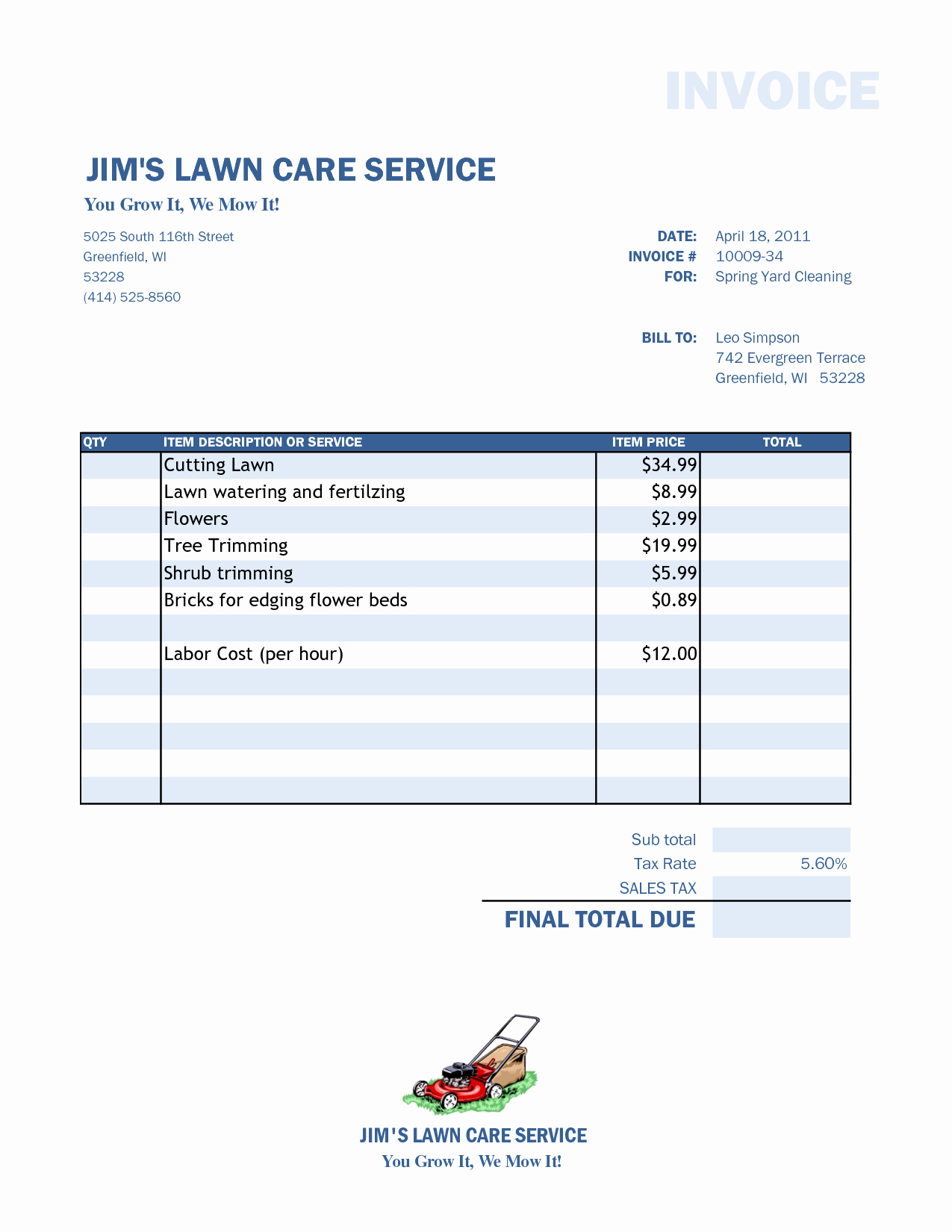 Lawn Service Invoice Template Excel New Lawn Care Invoice Template Spreadsheet Templates for