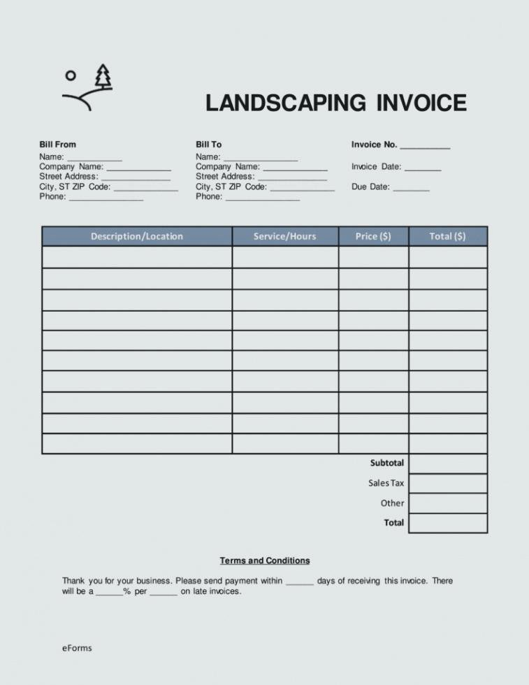 Lawn Service Invoice Template Excel New Lawn Maintenance Invoice Template Care Examples Service