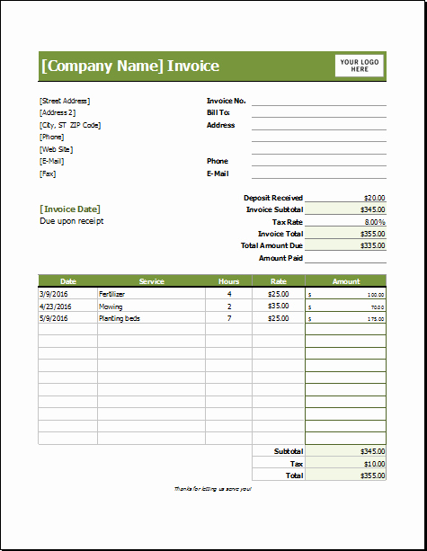 Lawn Service Invoice Template Fresh Lawn Care Invoice Template for Excel