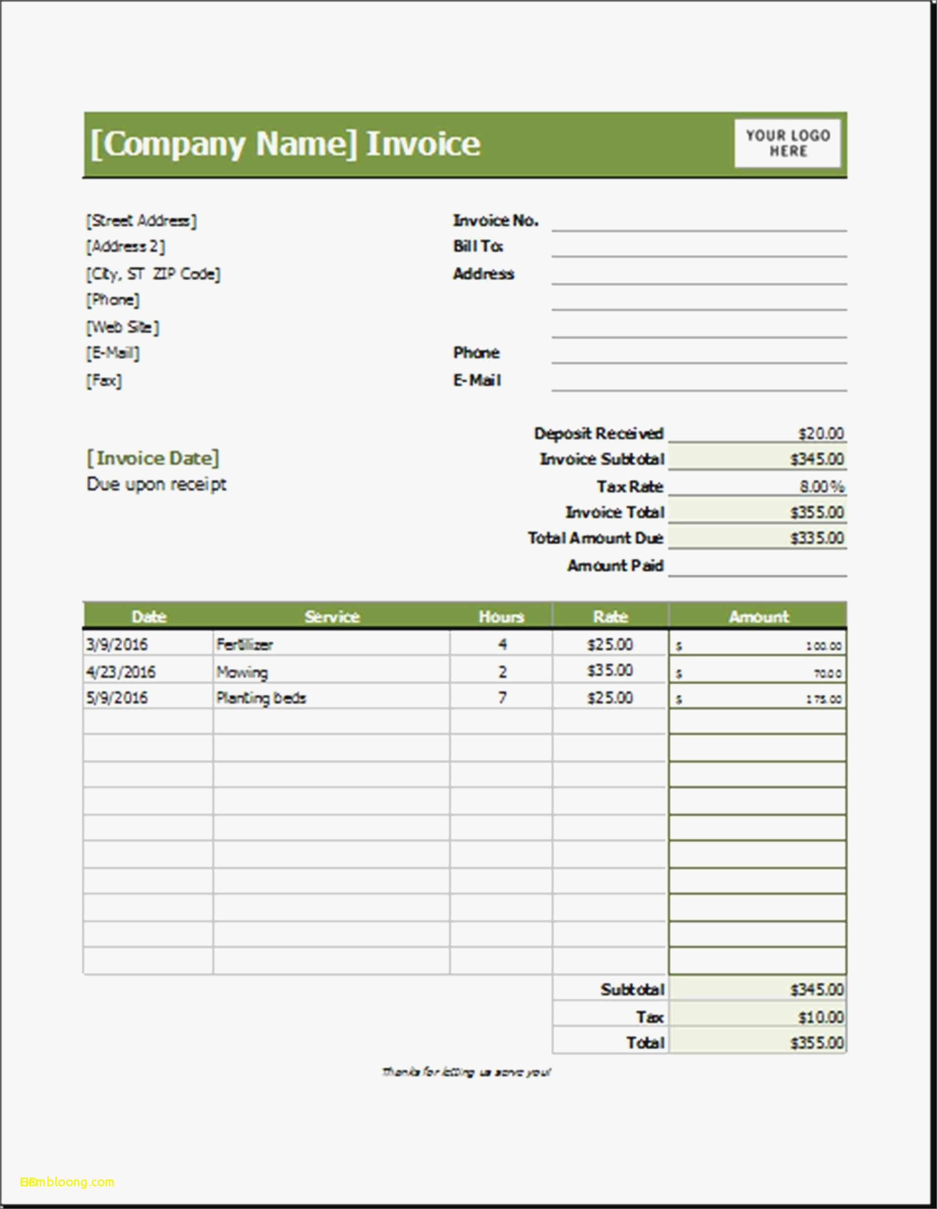 Lawn Service Invoice Template Unique New Sample Lawn Care Invoice