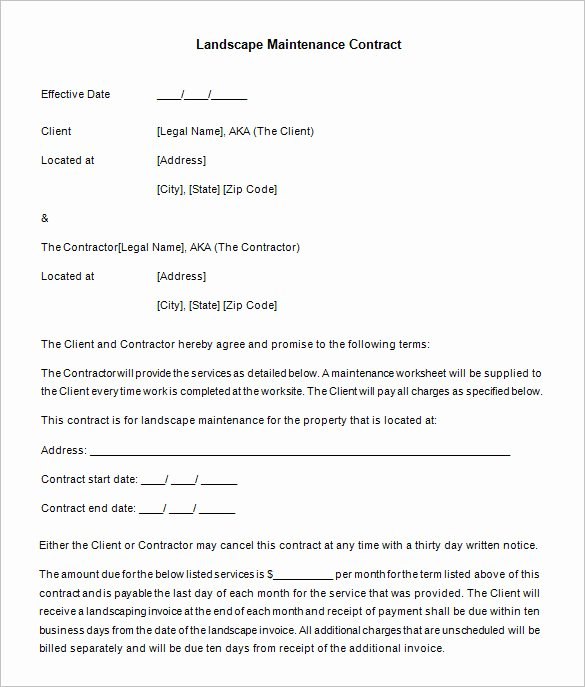 Lawn Service Proposal Template Free Awesome 20 Maintenance Contract Templates Docs Word Pages