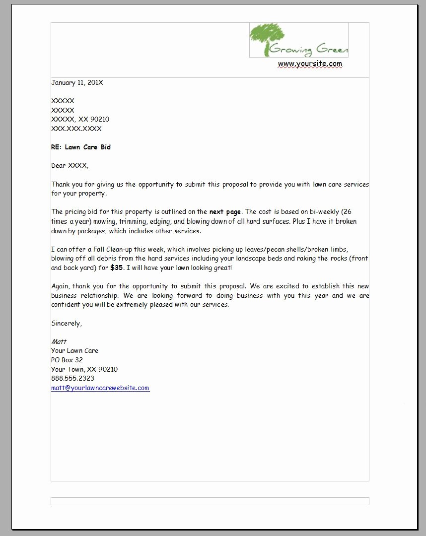Lawn Service Proposal Template Free Beautiful Pin by Lisa R On Landscaping Business