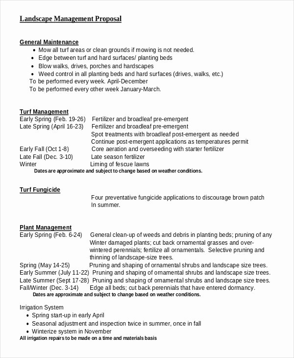 Lawn Service Proposal Template Free Elegant 5 Landscaping Proposal Examples Samples