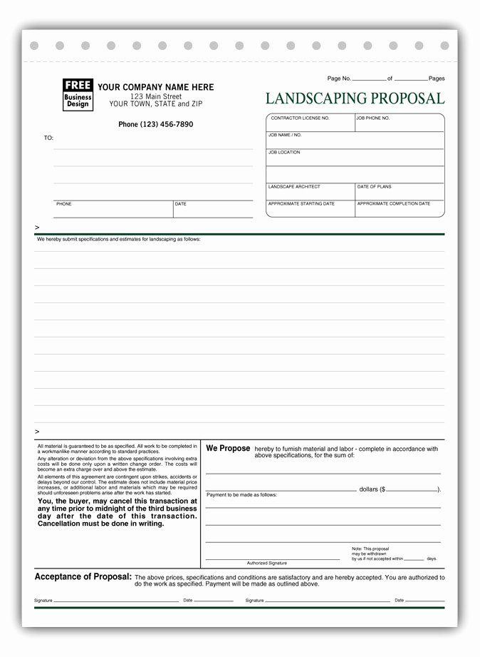 Lawn Service Proposal Template Free Elegant Free Landscape Proposal Template