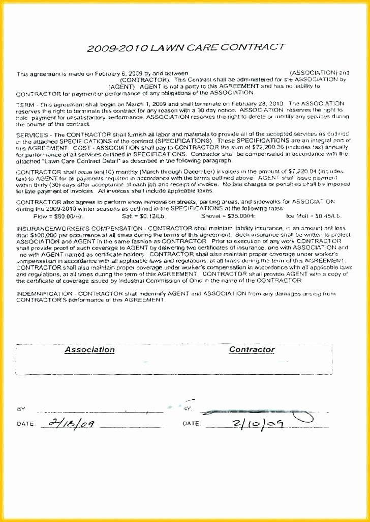 Lawn Service Proposal Template Free Inspirational Snow Removal Bid Template Luxury Plowing Contract Free