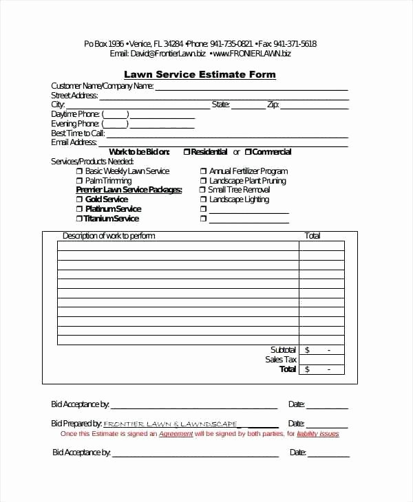 Lawn Service Proposal Template Free Lovely Tree Trimming Proposal Template Free Printable Lawn