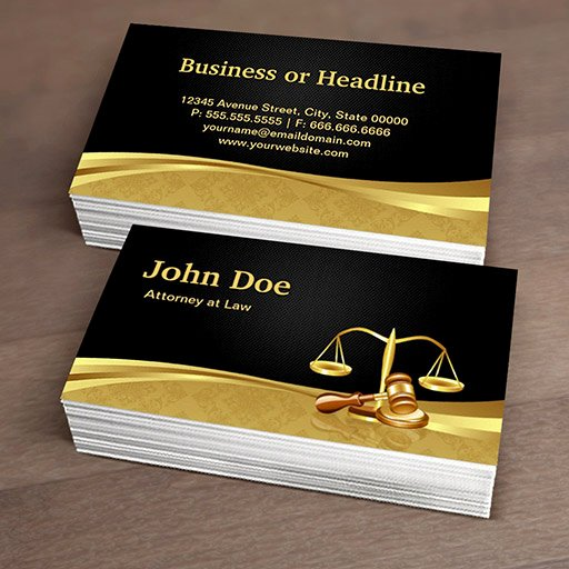 Lawyer Business Card Template Awesome attorney Lawyer Justice Elegant Black Gold Damask Double