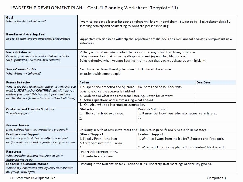Leadership Development Plan Template Inspirational Leadership Development Plan