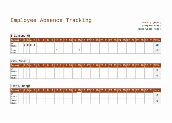 Leave Tracker Excel Template Elegant 10 Employee Tracking Templates – Free Sample Example