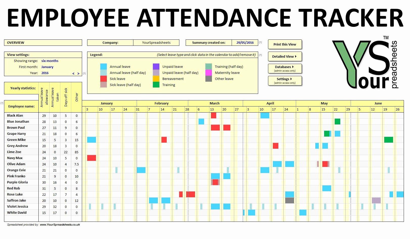 Leave Tracker Excel Template New Employee attendance Calendar 2017 attendance Tracker